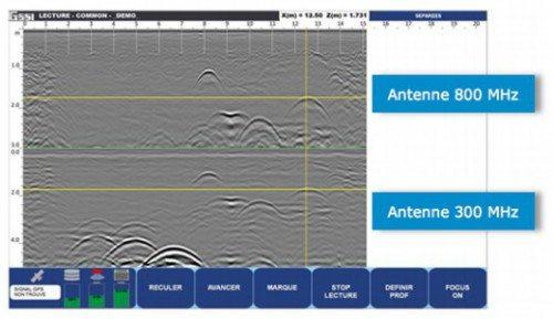 Affichage des deux fréquences géoradar